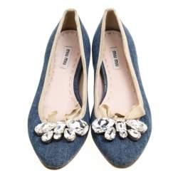 Miu Miu Blue Denim Crystal Embellished Bow Detail Pointed Toe Ballet Flats Size 36
