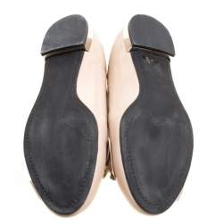 Miu Miu Beige Patent Leather Bow Smoking Slippers Size 39
