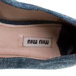 Miu Miu Blue Light Wash Denim Crystal Embellished Flats Size 39