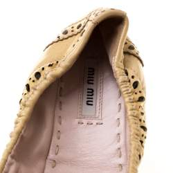 Miu Miu Beige Brogue Leather Scrunch Bow Ballet Flats Size 37.5