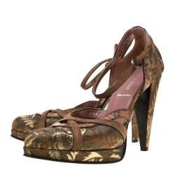 Miu Miu Metalllic Brown Brocade Fabric And Leather Trim Ankle Strap Platform Sandals Size 39