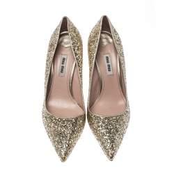 Miu Miu Metallic Gold Glitter Pointed Toe Pumps Size 38