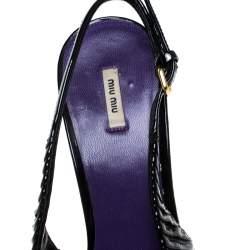 Miu Miu Black Pleated Leather Peep Toe Platform Slingback Sandals Size 38.5