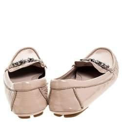 Miu Miu Beige Patent Leather Embellished Loafers Size 38