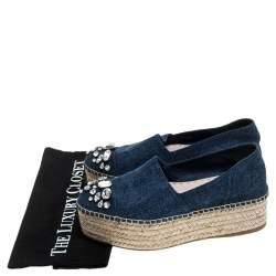 Miu Miu Blue Denim Embellished Platform Espadrilles Size 37.5