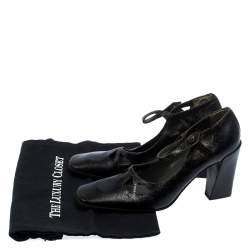Miu Miu Black Crack Leather Cutout Square Toe Pumps Size 37.5