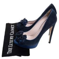 Miu Miu Blue Suede Tassel Detail Peep Toe Platform Pumps Size 39