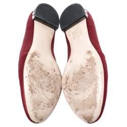 حذاء سليبرز ميو ميو ساتان أحمر مزخرف كريستال سموكينغ مقاس 38.5