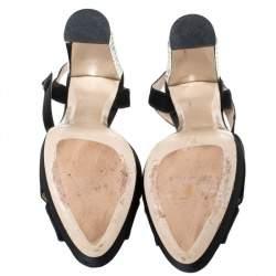 Miu Miu Black Cut Out Satin T Strap Crystal Embellished Heel Platform Sandals Size 38
