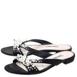 Miu Miu Black Satin Pearl Embellished Strappy Flats Size 39