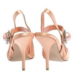 Miu Miu Peach Pleated Satin Crystal Embellished Pointed Toe Slingback Sandals Size 37.5