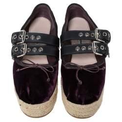 Miu Miu Purple Velvet And Black Double Leather Strap Bow Ballet Platform Espadrilles Size 38