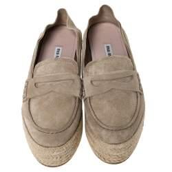 Miu Miu Beige Suede Penny Loafer Platform Espadrilles Size 38