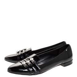 Miu Miu Black Patent Leather Trio Buckle Embellished Ballet Flat Size 37.5