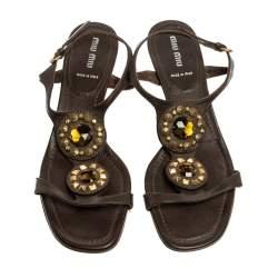 Miu Miu Dark Brown Leather Crystal And Stud Embellished Slingback Sandals Size 40.5