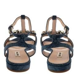 Miu Miu Blue Denim Crystal Embellished Ankle Strap Flats Size 37.5