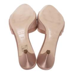 Miu Miu Beige Satin And Grosgrain Knot Fabric Crystal Embellished Open Toe Slide Sandals Size 38.5