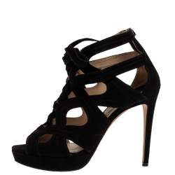 Miu Miu Black Suede Leather Strappy Platform Sandals Size 38