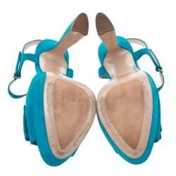 Miu Miu Blue Suede Bow Ankle Strap Platform Sandals Size 41