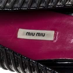 Miu Miu Black Ruched Patent Leather Peep Toe Pumps Size 39