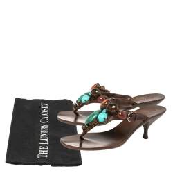 Miu Miu Brown Leather  Beaded Thong Sandals Size 37