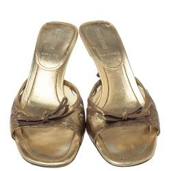 Miu Miu Gold Brocade Embossed  Leather Cut Out Bow Sandals Size 37