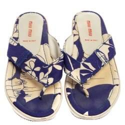 Miu Miu Blue/White Printed Canvas Thong Wedge Sandals Size 37