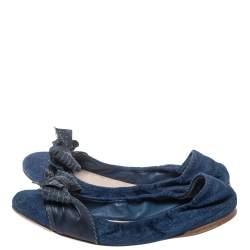 Miu Miu Blue Denim And Leather Bow Scrunch Ballet Flats Size 40.5