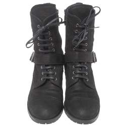 Miu Miu Black Nubuck Lace Up Ankle  Boots Size 40