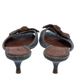 Miu Miu Blue Denim Bow Slide Sandals Size 38