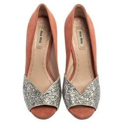 Miu Miu Silver/Pink Coarse Glitter and Suede Peep Toe Pumps Size 37