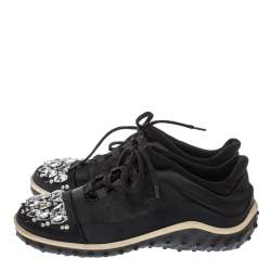 Miu Miu Black Fabric Crystal Embellished Low Top Sneakers Size 38
