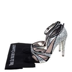 Miu Miu Silver Coarse Glitter And Suede Trims Open Toe Ankle Strap Sandals Size 40