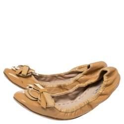 Miu Miu Beige Patent Leather Scrunch Ballet Flats Size 41
