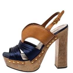 Miu Miu Blue Satin And Leather Studded Platform Sandals Size 39