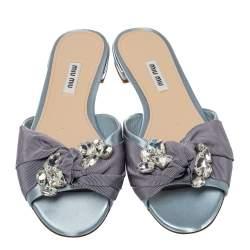 Miu Miu Light Blue Satin And Canvas Knot Crystal Embellished Slide Sandals Size 38