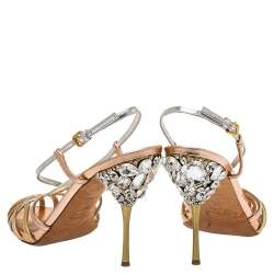 Miu Miu Multicolor Leather Crystal Embellished Strappy Slingback Sandals Size 37