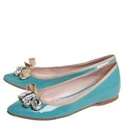 Miu Miu  Blue Patent Leather Embellished Ballet Flats Size 36.5