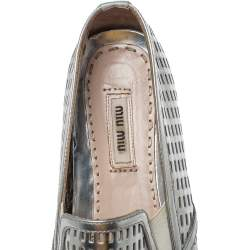 Miu Miu Silver Perforated Leather Metal Cap Toe Platform Sneakers Size 39.5