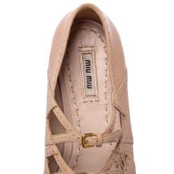 Miu Miu Beige Leather Criss Cross Ballerina Flats Size 40.5
