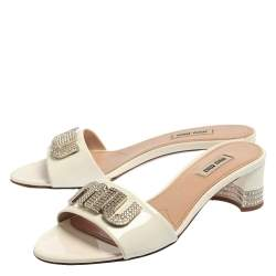 Miu Miu White Patent Leather Embellished Sandals Size 37.5