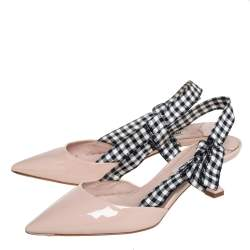 Miu Miu Beige Patent Leather And Fabric Slingback Sandals Size 36