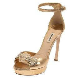 Miu Miu Gold Leather Embellished Ankle Strap Platform Sandals Size 39