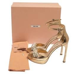 Miu Miu Gold Leather Embellished Ankle Strap Platform Sandals Size 39