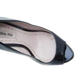 Miu Miu Black Patent Open Toe Pumps Size 36