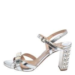 Miu Miu Silver Leather Crystal Heel Embellished Ankle Strap Sandals Size 38.5