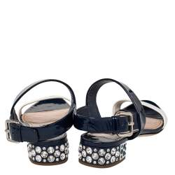 Miu Miu Blue/White Patent Leather Low Crystal Sandals Size 36