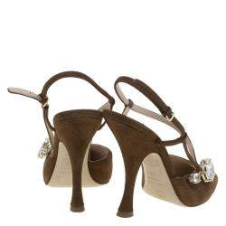 Miu Miu Brown Suede Jewel Embellished Strappy Sandals Size 39