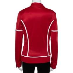 Moncler Red/White Jersey Stretch Track Jacket L