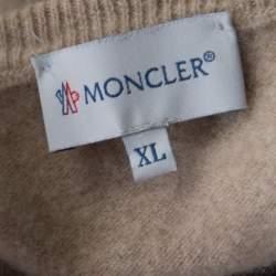 Moncler Beige Wool V-Neck Sweater XL